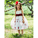 Ball Gown Scoop Tea-length Polyester Flower Girl Dress With Flower Ribbons (More Colors)