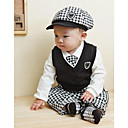 Boys Turn-down Collar Long Sleeve White Shirts  Black Vest  Plaid Bow Tie  Cap  Pants 5Pcs Suit