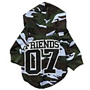 07 Camouflage  Pattern 100% Cotton Hooded T-shirt for Dogs (Green XS-L)