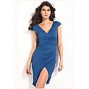Azul con pliegues Wrap Midi vestido de las mujeres