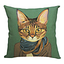 Modern Handsome Cat Cotton/Linen Decorative Pillow Cover