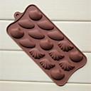 15 hoyos moldes de chocolate pastel de jabón forma de concha de la jalea de hielo, silicón 22 × 10,2 × 1,5 cm (8,7 × 4,0 × 0,6 pulgadas)