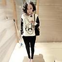 cartas jersey de cuello redondo de la Mujer yisyi imprimen suelta de manga larga t-shirt