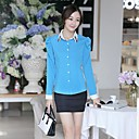Womens Set Auger Lapel Han Edition Cultivate Ones Morality Long-Sleeved Chiffon Shirt