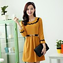 Womens Pure Color Round Collar Dress