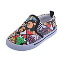 Canvas Childrens Flat Heel First Walkers Fashion Loafers with Cartoon Pattern Shoes