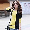 de las mujeres yisyi cuello redondo de moda casual color clasificado de costura de las mangas largas t-shirt