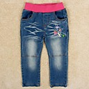 Girls Fashion Jeans Blue Denim Jeans Flowers Embroidery Casual Jeans