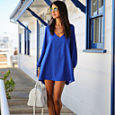 Q.S.H Womens Solid Color Loose Fit Long Sleeve Dress