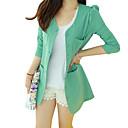 cuello redondo sólido de la manera ocasional del algodón del color de las mujeres yisyi encaja abrigo de mangas largas