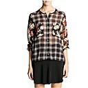 Womens Round Collar Pocket Printing Double Sleeve Grid Chiffon Shirt