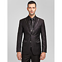 Black Polyester Tailorde Fit Two-Piece Suit