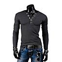 camisa de manga larga de color sólido nomo v cuello ocasional