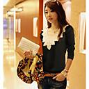 camisa de la manga de soplo del collar redondo del estilo coreano Yiluo (negro)