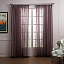 (Two Panels) Graceful Solid Sheer Curtain With Pendants