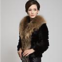 invierno cálido abrigo de piel de imitación l082 gy de las mujeres