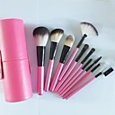 10pcs cepillo de maquillaje de color rosa con un cilindro