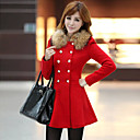 b32014 cuello nueva moda de invierno de pieles causal delgado largo abrigo de lana de Hitomi mujeres
