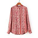 slyamp;print floral camisa v cuello de las mujeres me