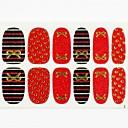 12pcs cubierta de tamaño completo falsa uñas pegatinas Adhesivos consejos abrigos de punto rojo de oro de base para las decoraciones del arte del