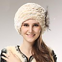 Women's Trendy Real Genuine Rabbit Fur Kintted Hat Beret Beanie Shapka
