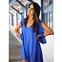dress_x10 xiaonvren gasa v cuello (azul real)