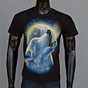 AFEC manga corta lobo 3d luz de la luna camiseta impresa de los hombres