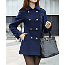 BZQ Womens Long Sleeve Slim Fashion Lapel Neck Double-Breasted Tweed Overcoats