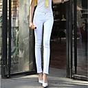 2014 nueva moda de mediana altura mosca de la cremallera de las mujeres lavar los pantalones vaqueros de algodón largo lápiz