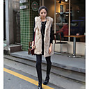 Aosishan Women's Lapel Neck Faux Fur Overcoat Overcoat