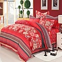 4-Piece100% Brushed Cotton Red Modern Duvet Cover Set