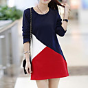 Womens Korean Splicing Hit Color and Thick Cotton Velvet Dress