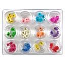12 colores de uñas de arte narcisos flores secas de uñas Decoración del arte