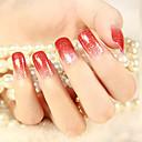 12pcs blining brillo rojo de color gradual 3d uñas de arte pegatinas