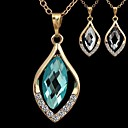 Fashionable Womens Horse Eye-Shaped Alloy Crystal Necklace(1Pc)(More Colors)