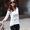 abrigo de manga larga camiseta con cuello en V de las mujeres hacen camisas ropa superior sin forro