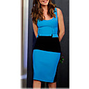 VERYM Women's Contrast COLor Slim Bodycon Round COLlar Dresses
