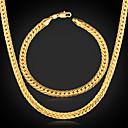 18k de oro pulsera de cadena del collar fornido llena set de alta calidad de los hombres U7 con 18k sello 5mm 55cm