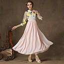 YINQIANWomens Shirt Collar Elastic Waist Thin Floral Print Fitted Long Dress