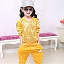 Girls Star Print Sequin Front Glossy Stripe Trim Gym Clothing Sets