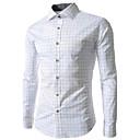 camisa de manga larga comprobado básica de duobilun hombre