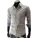 cheque de moda cuello de la camisa de manga larga de la camisa ocasional o de lesen hombres