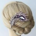aleación de la vendimia de cristal de diamante de imitación púrpura peine pelo de la pluma del pavo real de las mujeres