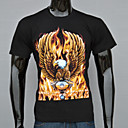 AFEC Mens Short Sleeve 3D Golden Eagle Printed  T Shirt