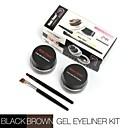 2 en 1 marrón  eyeliner en gel negro conforman a prueba de agua y cosméticos-prueba de manchas establecidos