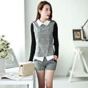 womens-fashion-checked-suitsshirt-shorts