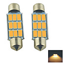 Carking™ Festoon 39mm-5630-9SMD Car LED Rome Lamp  Warm White Light (12V/2PCS)