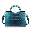 BlKl bolso bolso de cuero de patente del patrón del cocodrilo de la moda (azul)