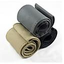 reallink bricolaje coche de dirección de cuero cubierta de la rueda de mano de costura genuina con la aguja y el hilo negro gris amarillento