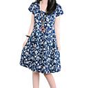 Womens Casual Round Collar Flora Print Big Swing Loose Dress